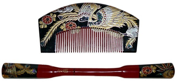Japanese Vintage Hair Accessories Wooden Comb And Pull