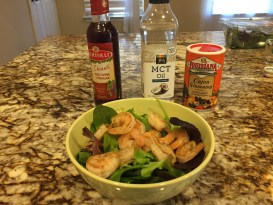 Grilled Shrimp in mixed greens salad