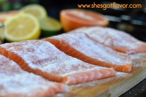 BMWK Pan Seared Salmon Over Arugula Salad with Sweet Citrus Vingerette Dressing flour dusting (600x399)