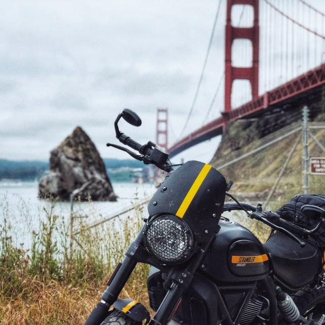 Ducati Scrambler Full Throttle at Golden Gate Bridge