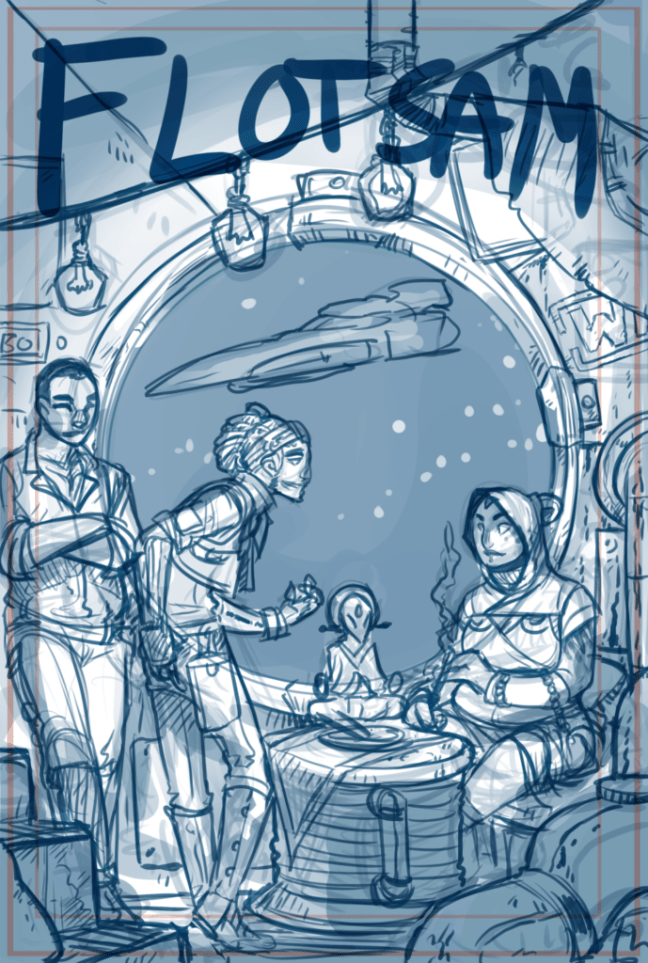 Four people stand around a makeshift table converted from a piece of industrial machinery. One of them leans forward, entreating another, who watches with interest. In the background we can see a round window, through which is stars and space, and a spaceship flying by.