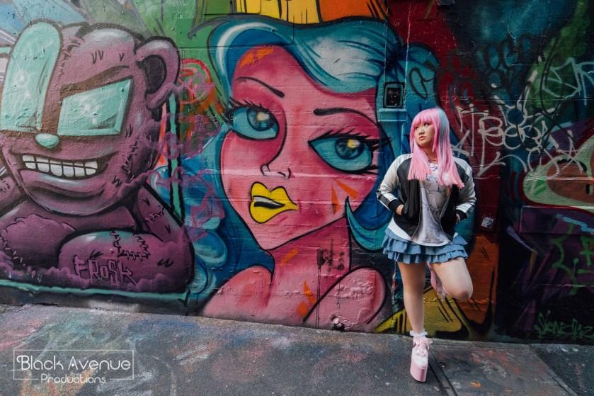 pink hair street style girl in Melbourne graffiti lane for portrait portfolio 2017