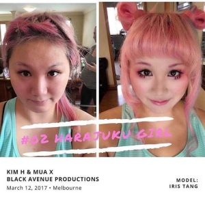 Melbourne make up artist before and after shot with a pink hair bride