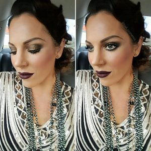 Bridal makeup with dark purple lipstick and smokey eyes