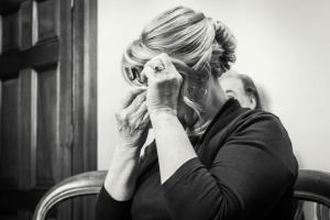 emotional moment captured by Black Avenue Productions where mother of bride cried during wedding ceremony at Victorian Marriage Registry Spring Street Melbourne CBD