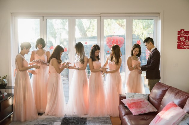 bridal party artistic image showing 8 bridesmaids in soft pink maxi dresses in Toorak wedding day