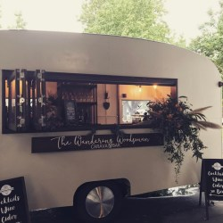 cute little vintage caravan mobile wedding bar
