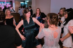 funny image of dance floor battle in Anglers Tavern reception