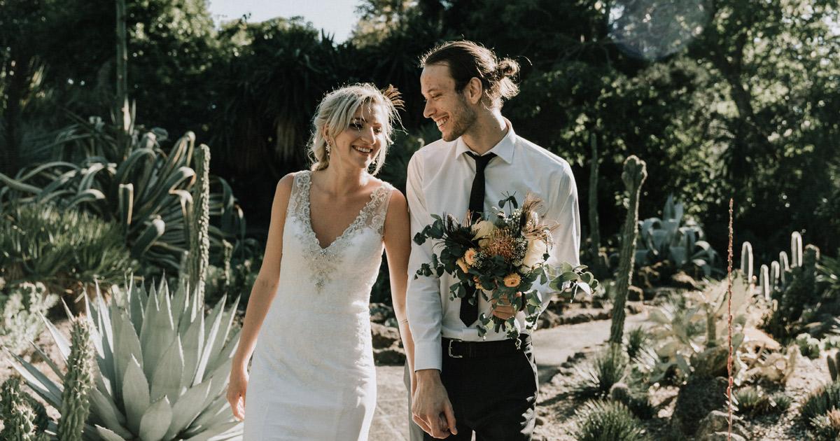 Melbourne Wedding Photography image of boho bride groom walking in Royal Botanical Gardens for wedding videography Melbourne