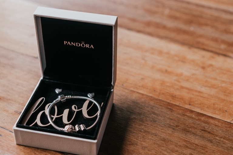 Pandora wedding bracelet taken by wedding photographer Black Avenue Productions