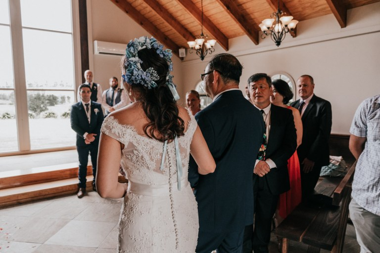 Wedding ceremony at chapel from Immerse Yarra Valleys taken by Black Avenue Productions