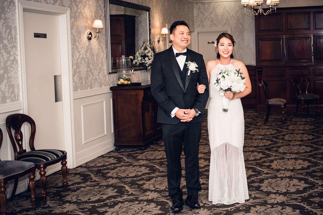 bride got changed into wedding reception dress