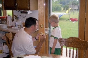 Dad and Son working