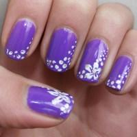 Purple flower nail art