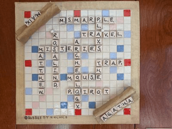 Ceramic Scrabble tile with Agatha Christie terms