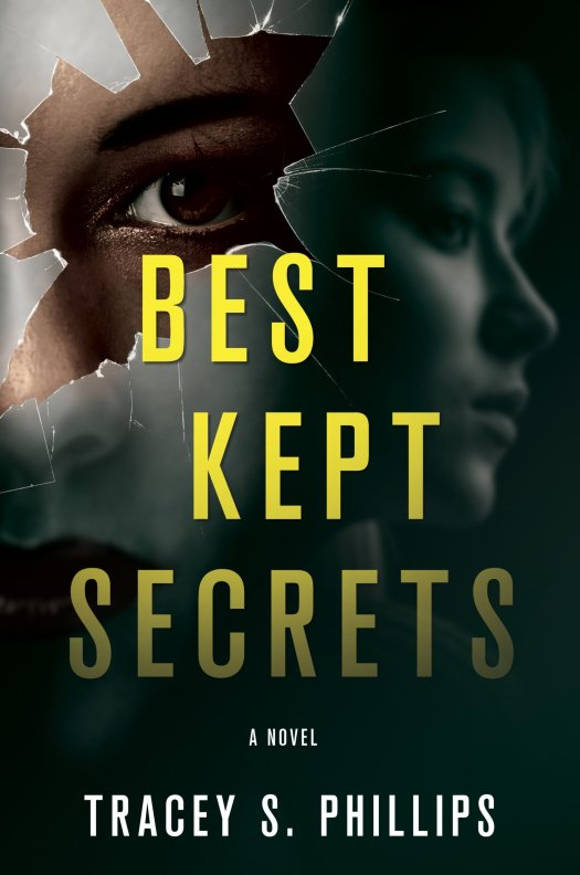 Book cover, Best Kept Secrets by Tracey S. Phillips. Woman looking through broken glass.