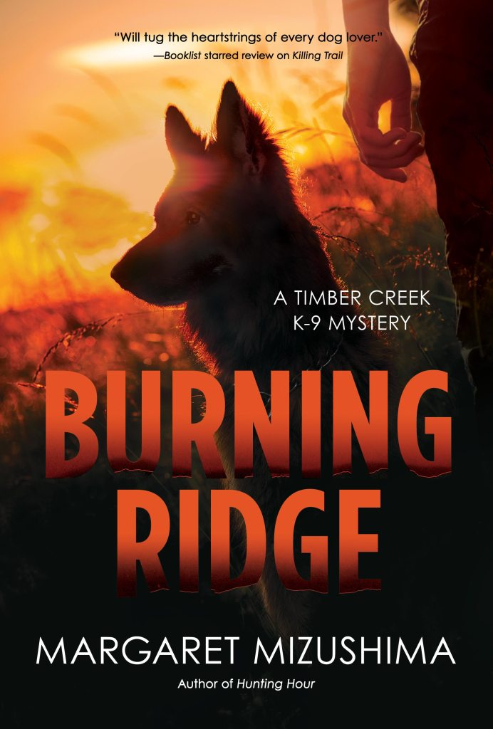 Book Cover. Burning Ridge by Margaret Mizushima. A Timber Creek K-9 Mystery. Dog in a field at sunset next to a person.