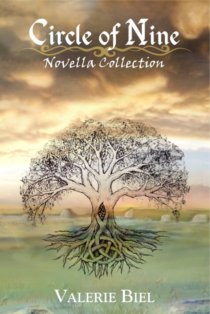Book Cover. Circle of Nine: Novella Collection by Valerie Biel. Tree drawn over landscape with cloudy sky.