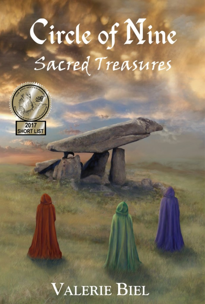 Book Cover. Circle of Nine: Sacred Treasures by Valerie Biel. Three robed figures looking at a rock formation.