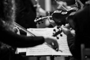 Orchestra Violins and sheet music