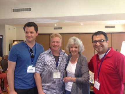 Authors from SBWC: L to R (August Norman, Trey Dowell, Sue Grafton, Ara Grigorian)