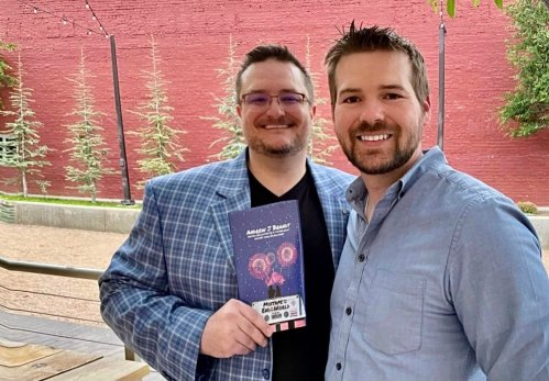 Rick Treon, left, and fellow author Andrew J Brandt during Brandt's recent launch party.