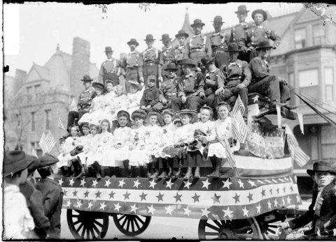 1882 parade float on a New York City street