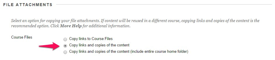 Course Copy: Copy links and copies of thhe content