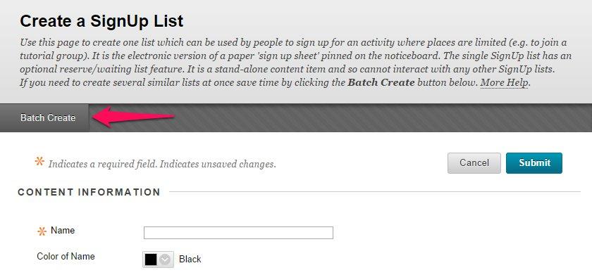 Batch Create SignUp lists