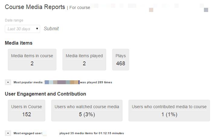 Kaltura Media Report Dashboard
