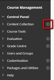 Screnshot of the content collection button in the control panel