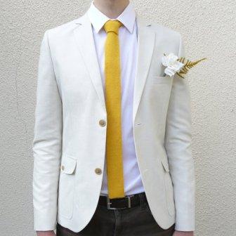 Cravate jaune tricotée - knit yellow tie, 51.99€