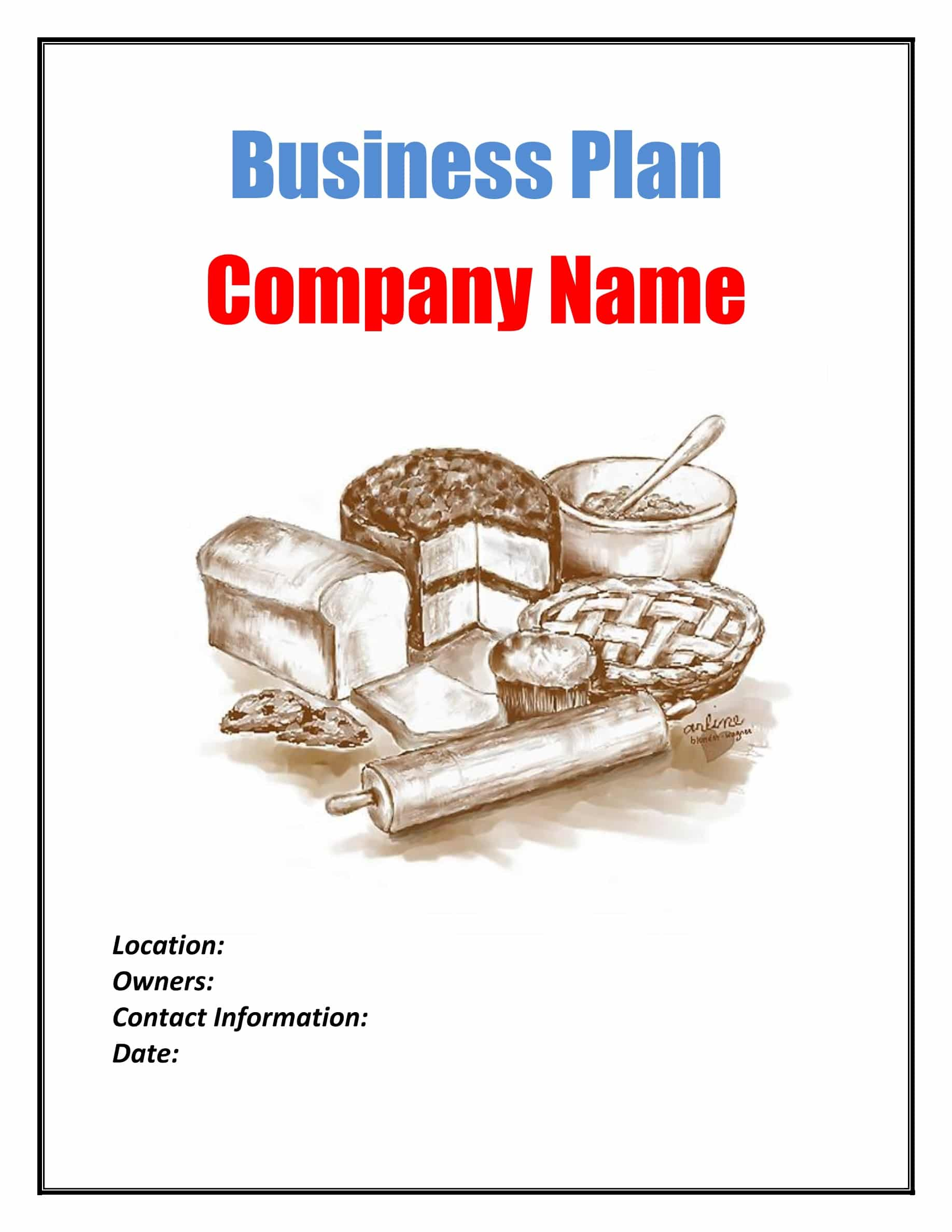 Bakery Business Plan Template Sample Pages