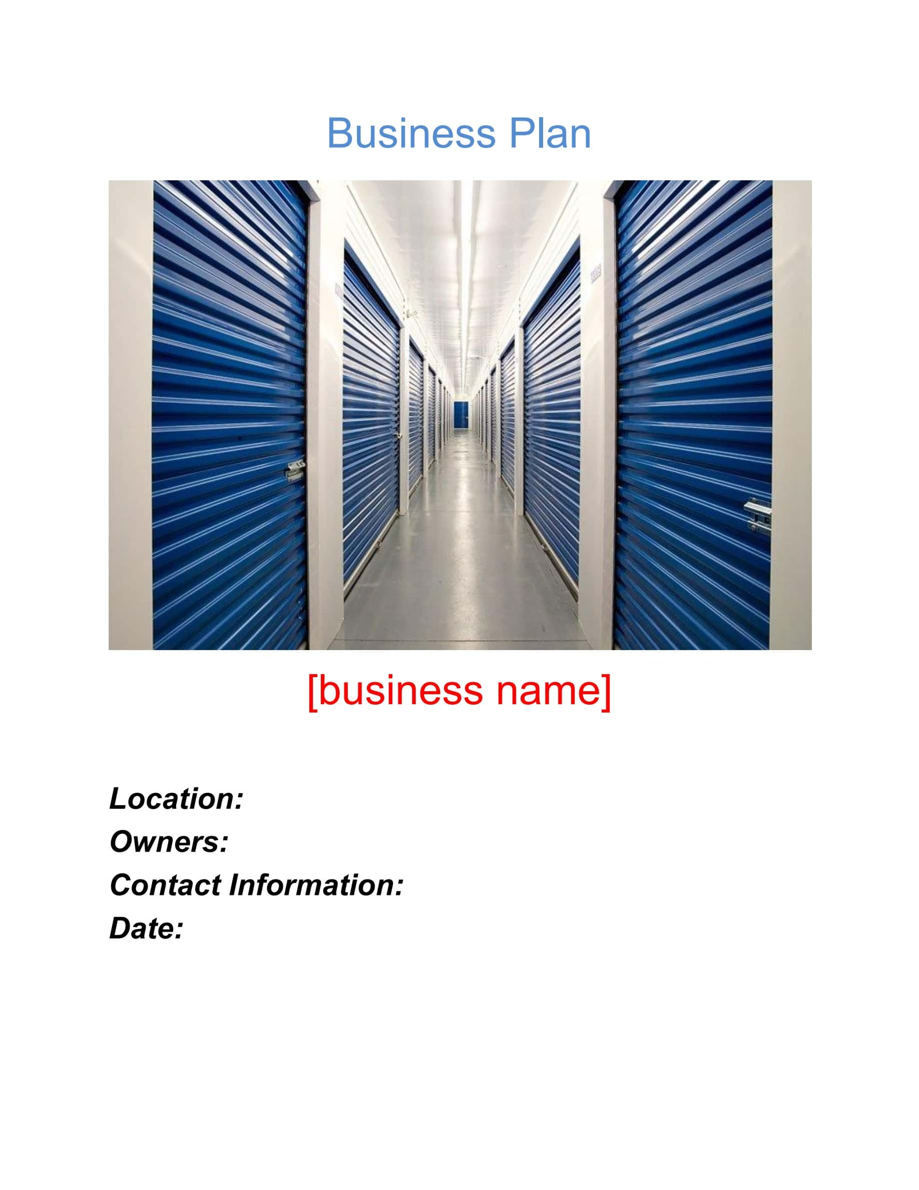 Self Storage Business Plan Template Sample Pages