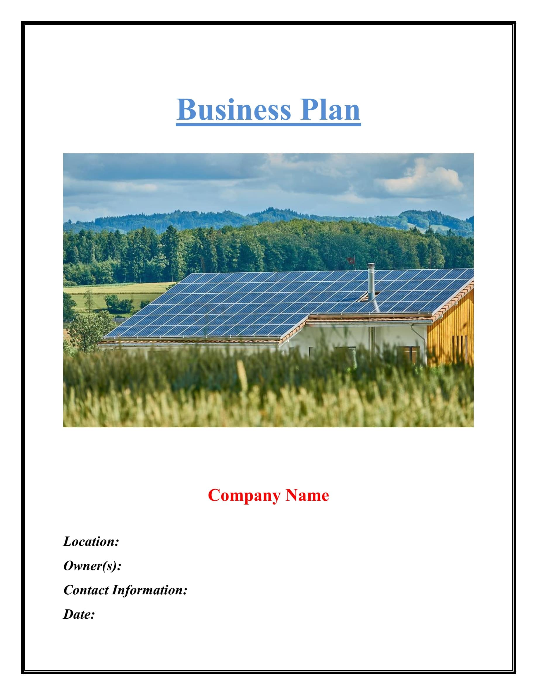 Solar Company Business Plan Template Sample Pages