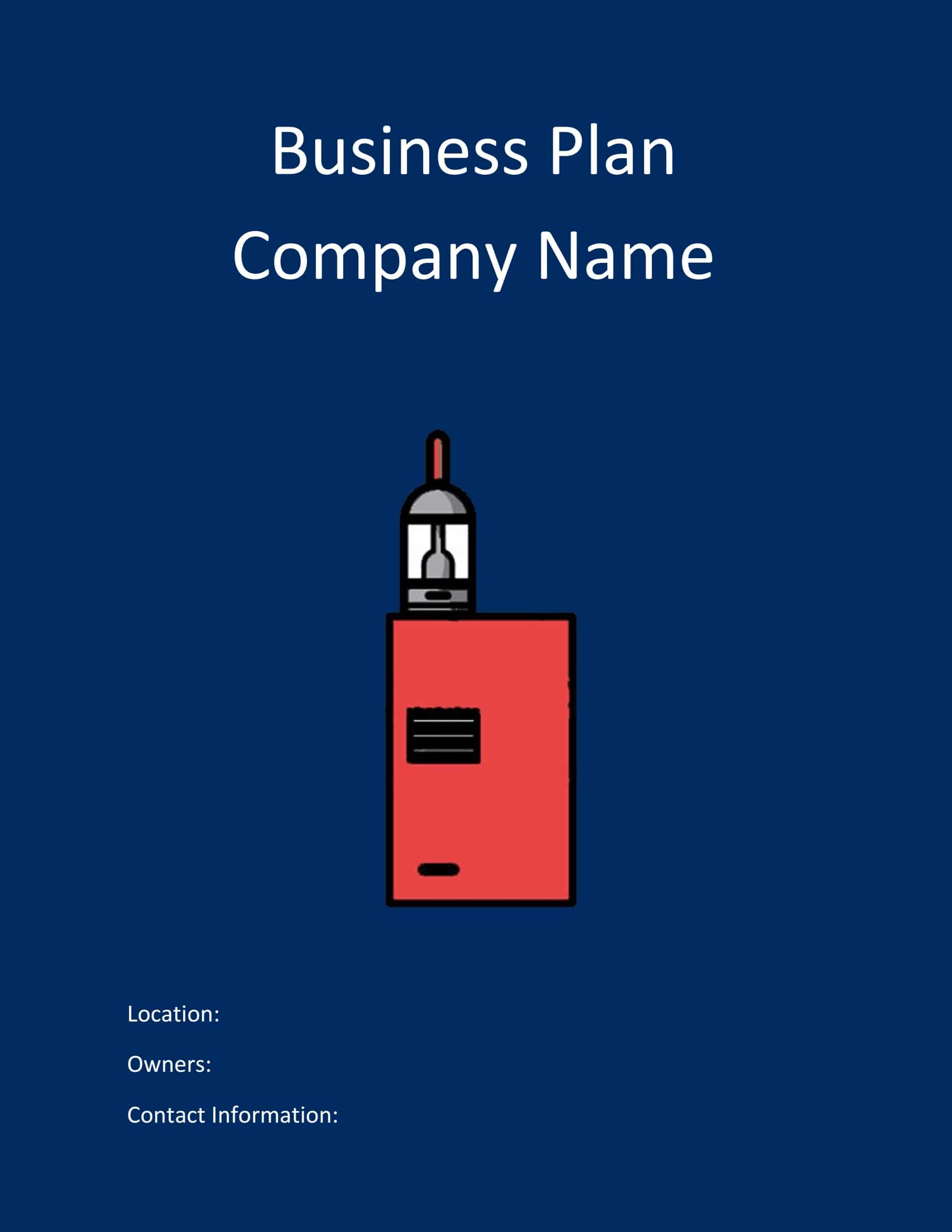 Vape Store Business Plan Template Sample Pages