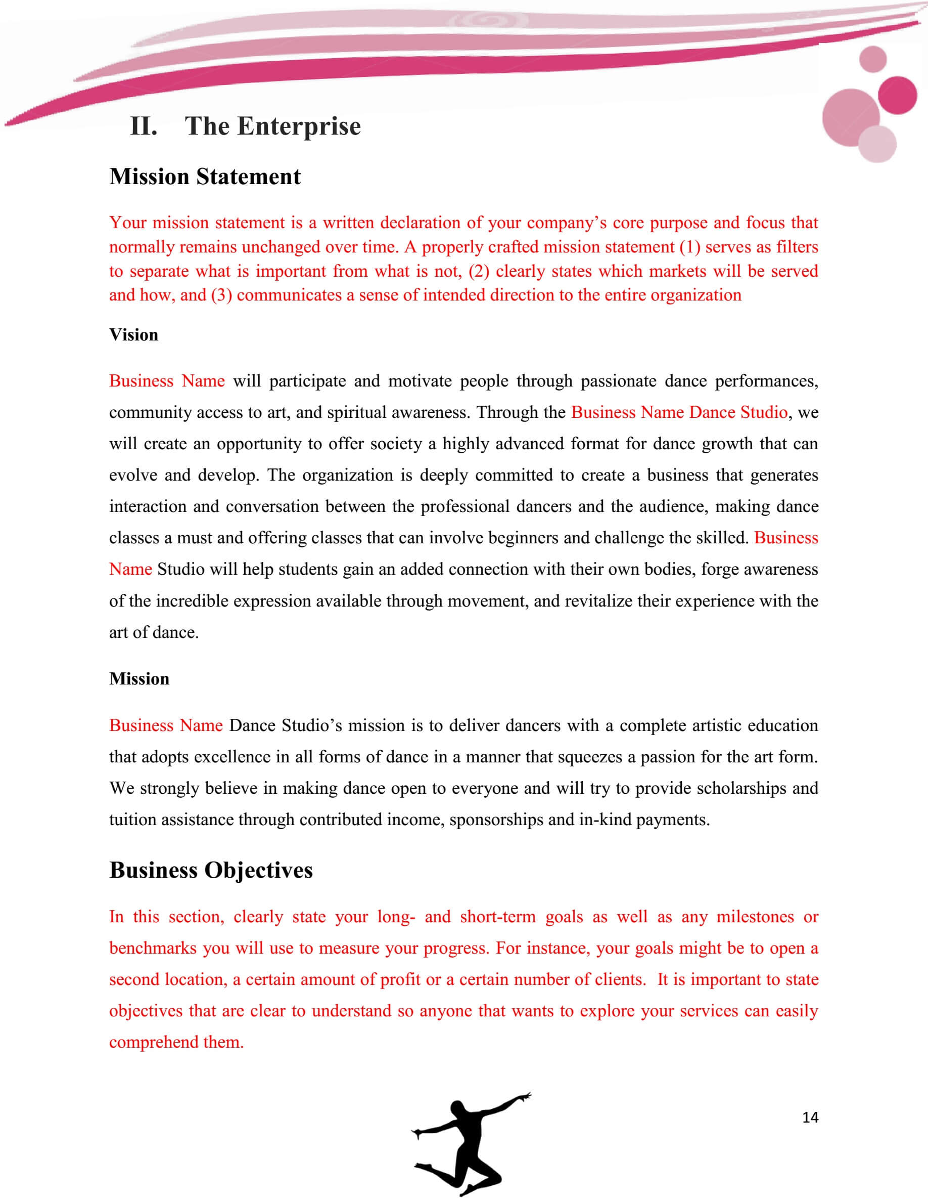 Dance Studio Business Plan Template Sample Pages