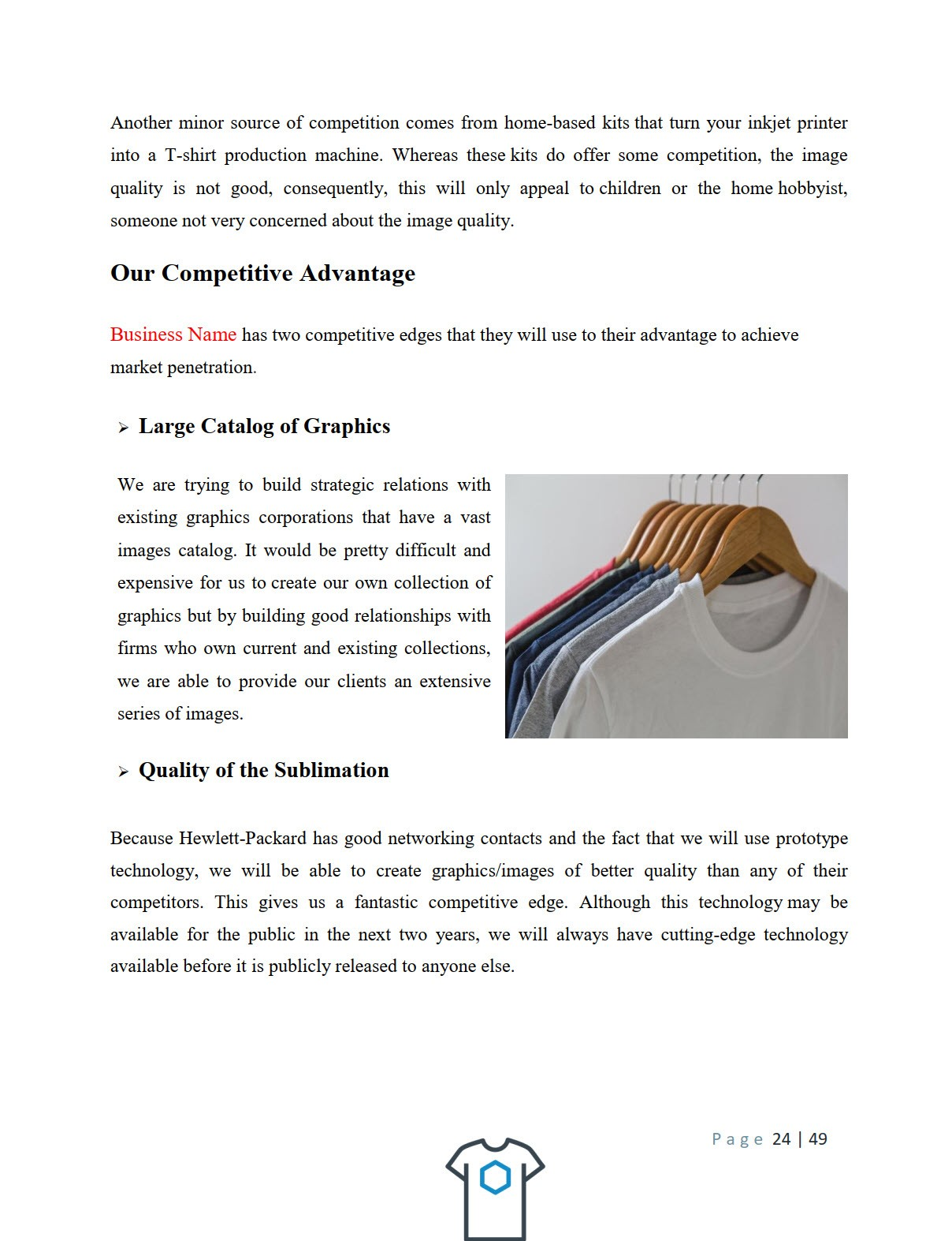 T Shirt Business Plan Template Sample Pages