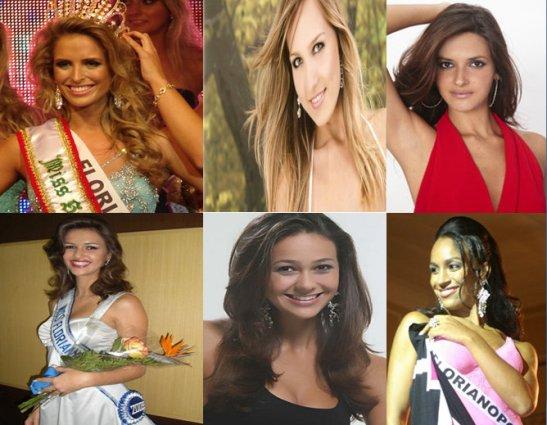 Miss Miss Florianópolis winners 2012-2007. Top (left to right): Manoella Deschamps, Ariella Carioni Engelke, Alessandra Savero. Bottom (left to right): Juliana Lohn, Cassia Hipolito, Jaqueline Aranha