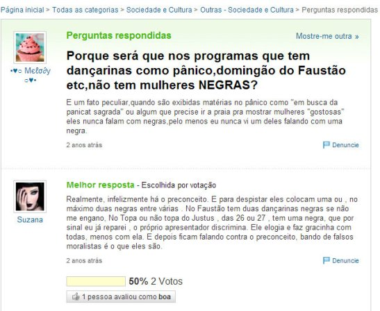 """""""Why do we have programs such as Pânico, Domingão do Faustão that have dancers that have no black women?"""""""