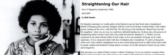 """Author bell hooks and a snippet from  her 1988 text, """"Straightening Our Hair"""""""