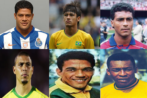Brazilian soccer stars, past and present: Top left to right, Hulk, Neymar, Romario, bottom, left to right, Ronaldo, Garrincha and Pelé
