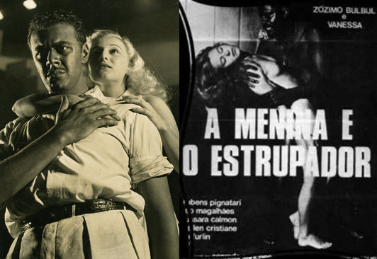 "A still from ""Anjo Negro"" (left) and poster of ""A Menina e O Estrupador"" (1982)"