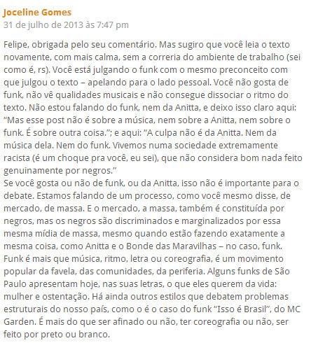 Joceline Gomes response to comment