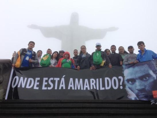 "In front the Christ the Redeemer statue in Rio: ""Where is Amarildo?"""
