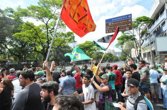 Scene from protest in Belo Horizonte, Minas Gerais on September 7th, Brazil's Independence Day