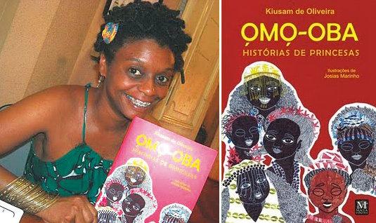 Author Kiusam de Oliveira with her book Omo-Oba - História de Princesas