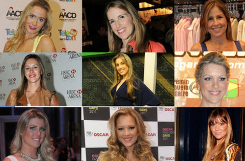Faces of Brazilian media  Top row: Lola Melnick, Mariana Ferrão, Patrícia Maldonado Middle row: Christine Dias, Michelle Giannella, Renata Fan Bottom row: Iris Stefanelli, Gianne Albertoni, Ellen Jabour