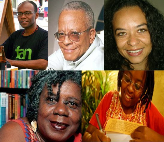Contemporary Afro-Brazilian writers - Top, left to right: Ricardo Aleixo, Nei Lopes, Ana Maria Gonçalves Bottom, left to right: , Conceição Evaristo and Cidinha Silva