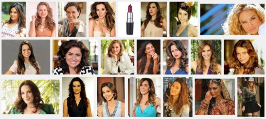 """Using the keywords, """"atrizes de novelas"""", meaning """"soap opera actresses"""", a screen shot of the first three rows of photos searching Google Images"""